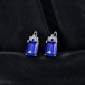 JewelryPalace Donna Gioiello Lusso Blu Zaffiro Rosso Rubino Verde Artificiale Nano Russo Smeraldo Orecchini a Cerchio 925 Argento Sterling (Blu)