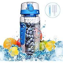 900ml Botella de Agua con Infusor de Esencia de Frutas sin BPA,Omorc Botella de Agua Deportiva Reutilizable de Plastico con Filtro Protector Libre de ...