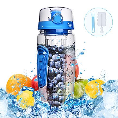 900ml Botella de Agua con Infusor de Esencia de Frutas sin BPA,Omorc Botella de Agua Deportiva Reutilizable de Plastico con Filtro Protector Libre de Toxinas,Resistente a los Golpes y al Impacto,se Incluye un Cepillo de Limpieza-Azul