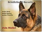 Warnschild - Schild aus Aluminium 20x30cm - Motiv: Schäferhund Security ( 03 )