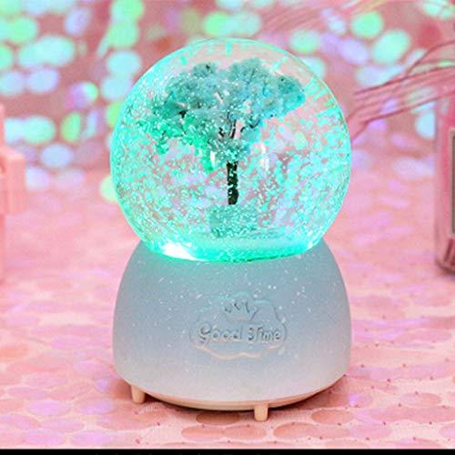 WZYJ Crystal Ball Music Box, Automatische Schneeflocke Musik Laterne Spieluhr Holzsockel Festival Kinder Paar Geburtstags-Geschenk,J