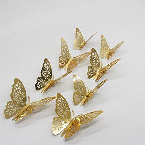 Wandsticker Schmetterling, silberfarben, Spiegel, 3D-Optik, für Zuhause, zum Selbermachen, goldfarben, 12 Stück (Superhelden Sind Transformatoren)