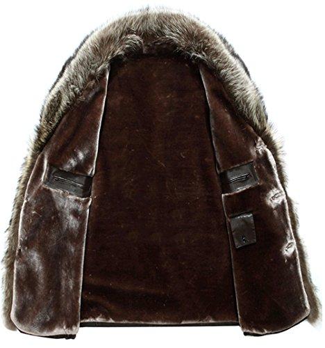 WS668 Winter Herren Leder Schaf Wolle Gefüttert Luxus Pelzkragen Warm Jacket 101-Braun