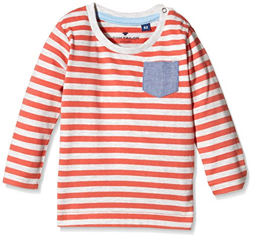TOM TAILOR Kids Baby - Jungen Langarmshirts striped t-shirt with pocket/512, Gr. 86, Rot (light vibrant red 4680)