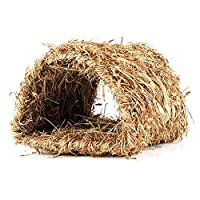 Sue-Supply Pet Grass Nest Handwoven Straw Foldable Durable Hamster Playing Sleeping Nest for Rabbit Guinea Pig Small Animals