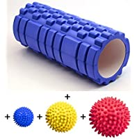 TNP Accessories® Foam Roller Grid with Trigger Point Yoga Pilates For Massage Workout Exercise Rehab Crossfit Physio Gym Therapy + Massage Ball