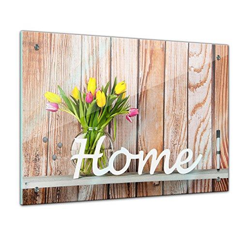 Memoboard 60 x 40 cm, Interieur - Home Dekor Tulpen - Memotafel Pinnwand - Blumen - Tulpe - Home Sweet Home - Zuhause - Holz - Optik - Küche - Glasbild - Handmade Land Küche Dekor