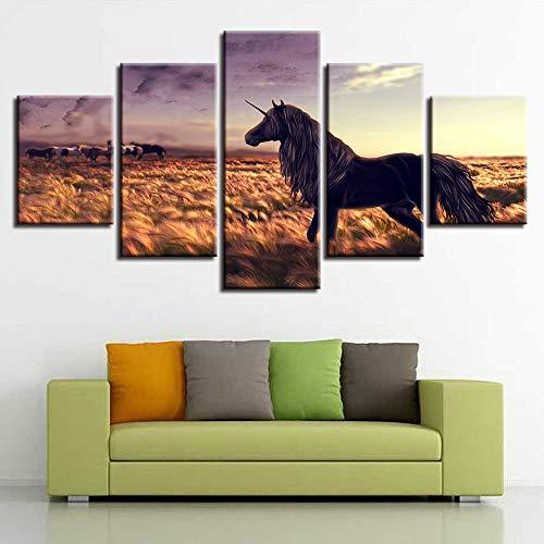 Decorazioni per la casa Moderne Stampa HD Soggiorno Tela 5 Pannelli Animali Cavallo Crepuscolo Wall Art Poster Immagini modu