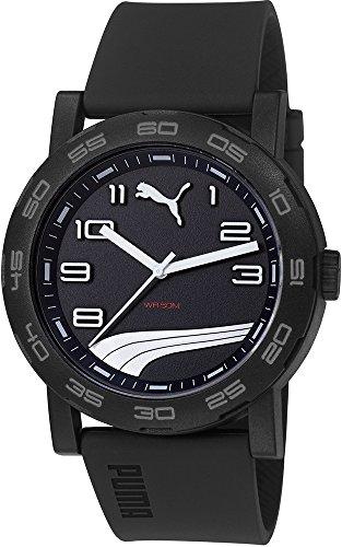 Puma PU103201012 de caja de plástico de los deportes de motor de los hombres de silicona de color negro de la correa de la esfera de color negro reloj