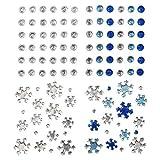 Minerva Crafts Klebe selbst selbstklebend Weihnachten Glitzerelementen sortiert, blau & silber–Pro Stück 220