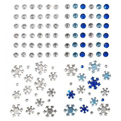 Stick On Self Adhesive Assorted Christmas Diamantes Blue & Silver - per pack of 220