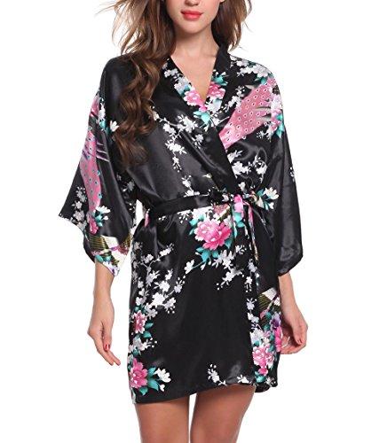 ADORNEVE Damen Nachtkleid Kimono Sexy Zweiteiliger Florales Nachthemd, schwarz, Size XXL