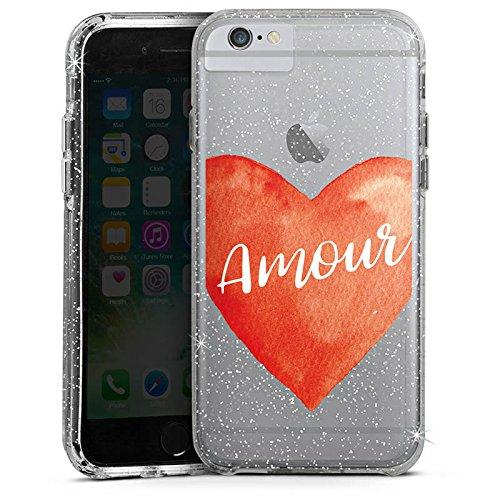 Apple iPhone 6 Plus Bumper Hülle Bumper Case Glitzer Hülle Amour Liebe Herz Bumper Case Glitzer silber