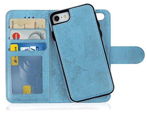 MyGadget Flip Case mit Back Cover [2 in 1] für Apple iPhone 7/8 - Magnetische Hülle in PU Leder Klapphülle - Kartenfach Schutzhülle Wallet - Hell Blau Leder Apple Wallet
