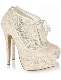 Zapatos De Boda De Las Mujeres De Encaje Primavera Verano 10CM Tacones Altos 2CM Novia Plataforma Dama De Honor...
