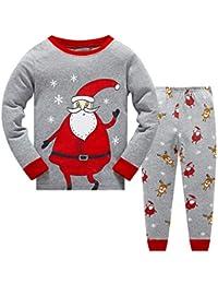 Qzrnly 2-8 años Niño Navidad Pijama Camisetas + Pantalones, Santa Claus Patrón, Niño Niña Ropa de…