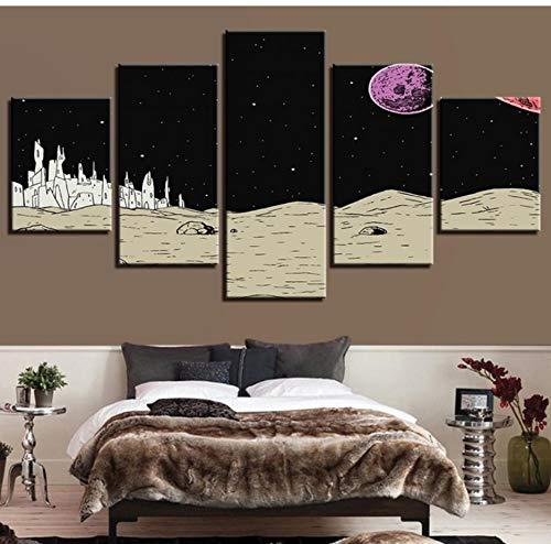 (Wiwhy (Kein Rahmen) Wandkunstausgangsdekor-Leinwand-Malerei-Hd-Drucke 5 Stücke Planet Landschaft Modularen Bilder Für Nacht Hintergrund Kunstwerk)