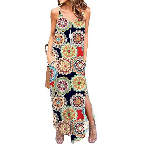 ommer Kurzarm Schulterfrei Einfarbig Blumenkleid Maxi Kleid A-Linie Kleider Vintage Elegant LäSsige Kleidung Rundhals Basic Casual Strandkleider(W2-Gelb,M) ()