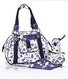 okiedog LUXE DELFT FERIO 31033 Weekender/Reisetasche mit viel Zubehör (Lederimitat), weiß blau