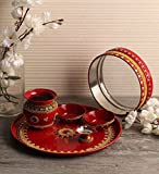 Itiha Steel, Red Colour with Multicolour Beads Karwa chauth Pooja Thali Set (12 inches)