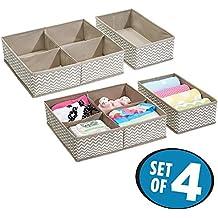 mDesign Organizador para armarios (juego de 4) – Cajas de plástico para ropa, cosméticos, pañales, pañuelos, lociones o medicamentos – Separador de cajones de color topo/natural
