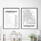 XIXISA Kopenhagen Stadtplan Poster Moderne Leinwand Malerei