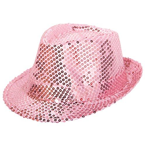 Kostüm Spaß Womens - Rosa Partyhut * PAILETTEN * für Groß und Klein zu Karneval oder Party // Geburtstag Kindergeburtstag Deko Spass Kinder Feier Verkleidung Kostüm Lady Dame Frau Mädchen Spaß Hut pink