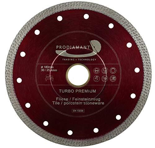PRODIAMANT Premium Diamant-Trennscheibe Fliese/Feinsteinzeug 180 mm x 30/25,4 mm Diamanttrennscheibe 180mm Fliesenscheibe passend für Tischmaschinen