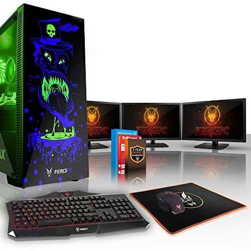 Fierce GOBBLER High-End RGB Gaming PC Bundeln - Schnell 4.2GHz Quad-Core Intel Core i7 7700, 1TB HDD, 8GB, NVIDIA GeForce RTX 2070 8GB, Win 10, Tastatur (VK/QWERTY), Maus, 3x 21.5-Zoll-Monitore 847686