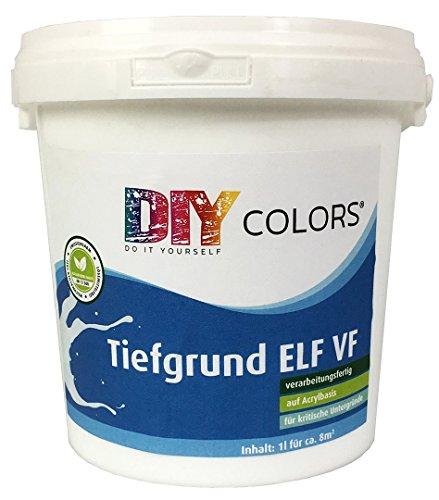 DIY Colors Tiefgrund ELF VF 1l (Größe wählbar) - Acryl Tiefengrund verarbeitungsfertig für innen und außen, Haftgrund, hochwertige Spezial-Grundierung in Maler- und Handwerkerqualität, Haftbrücke