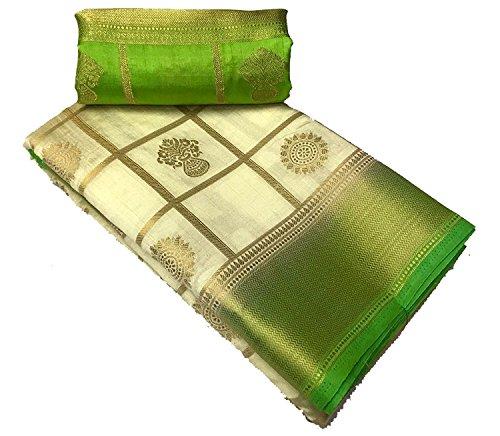 purvi fashion cotton silk Saree With Blouse Piece (Kanchivaram_Green_Green_Free Size)