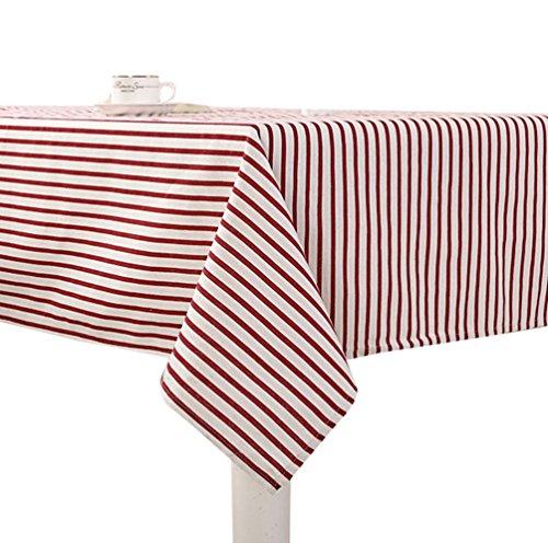 YOUJIA Gestreift Tischdecke Simpel Gartentischdecke Pflegeleicht Tischtuch Tischwäsche für Couchtisch, Esstisch (Rot #Gestreift, 90*90cm) (Tischdecken Esstisch)