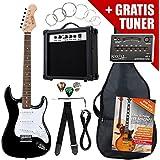 Rocktile Pack guitarra eléctrica ST negro (incl. ampli, funda, afinador, cable, correa, cuerdas)