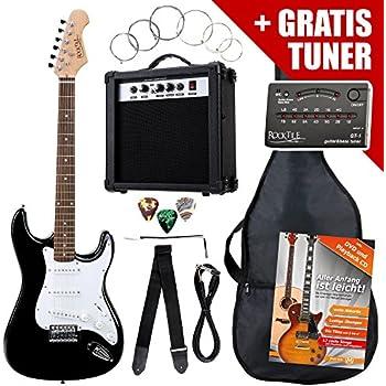 Saiten Zubehör Verstärker GW15,Tasche,Gurt,3xPik E-Gitarre ST5-dunkelrot,Set