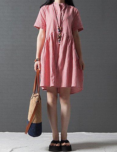 PU&PU Robe Aux femmes Grandes Tailles Grandes Tailles / Décontracté / Mignon , Damier Mao Au dessus du genou Coton / Lin red-xl