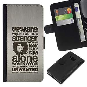 OREGON-X Brief Tasche Klapp Flip Leder mit Kartenhalter Hart Für Schale Case Cover Handy Schutz Hülle HTC One M9 - Typografie - Menschen sind seltsam