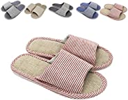 zisheng Women's and Men's Couple Slippers Cotton Flax Casual Memory Foam Open Toe Slippers Super Soft