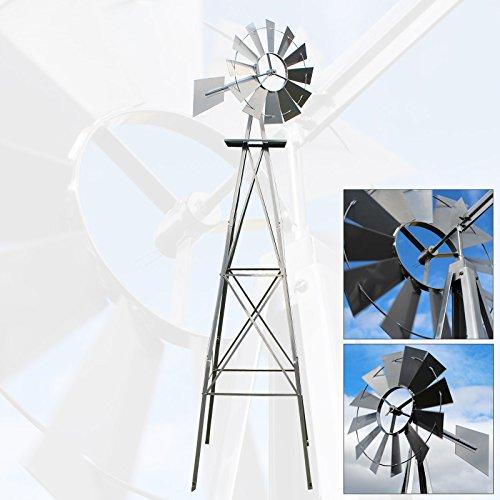 US Windrad 245cm silberfarben Windmühle Windspiel Kugellager Mühle