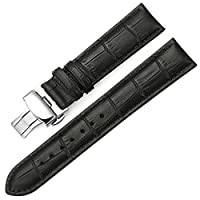 iStrap 20mm Calf Leather Padded Replacement Watch Band W/ Push Button Deployment Buckle Black 20