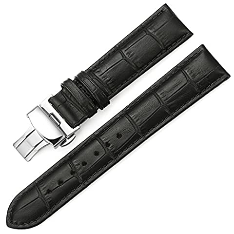 iStrap 24mm Calf Leather Padded Replacement Watch Band W/ Push Button Deployment Buckle Black 24