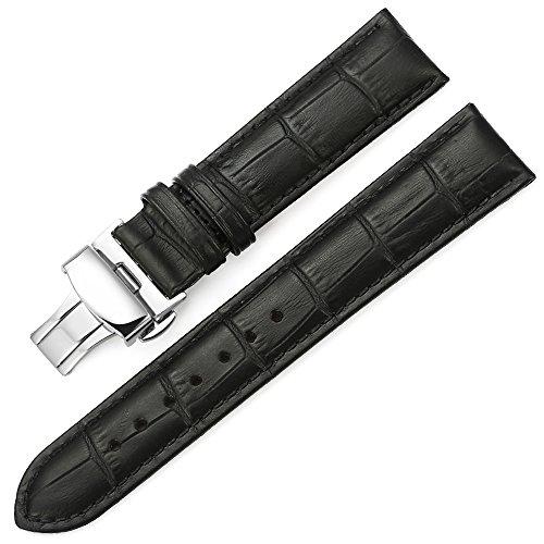 iStrap 22mm Echt Leder Uhrenarmbänder Uhrband Ersatz Watch Band mit Edelstahl Dornschließe Shwarz