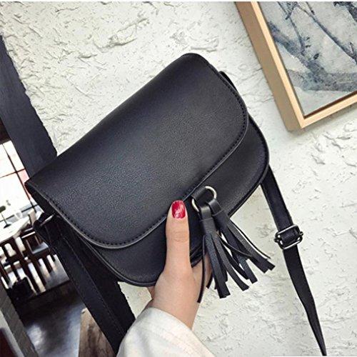 BZLine® Frauen Quaste Messenger Taschen weiblichen Handtasche Schultertasche Schwarz