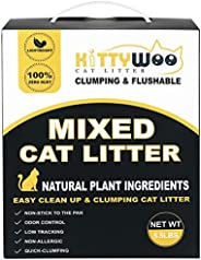 KITTYWOO Tofu Cat Litter, Natural Flushable Cat Litter Easy Clumping Kitty Litter Low Tracking Dust Free &