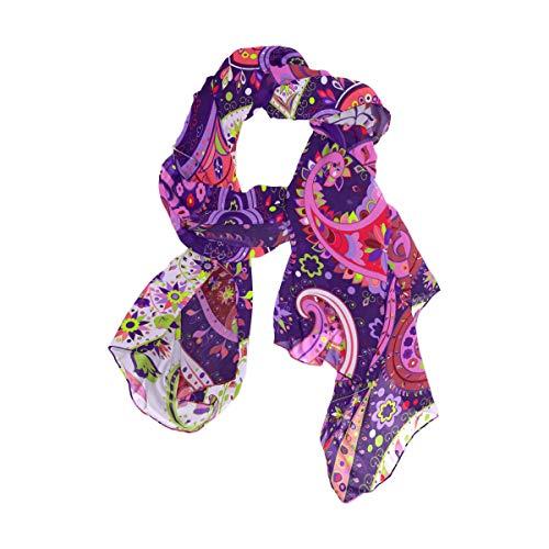 Ahomy Vintage cachemira floral púrpura Hippie protector solar playa bufanda ligero mujeres bufandas chal chal Wrap