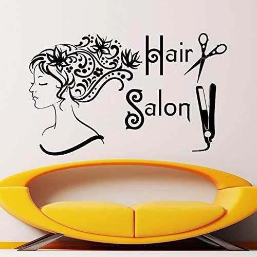 LovelyHomeWJ Friseursalon Spa Mode Frau Gesicht Haarschnitt Schere Haarglätter Wandaufkleber Abnehmbare Vinyl DIY Barber Shop Aufkleber 59x92 cm