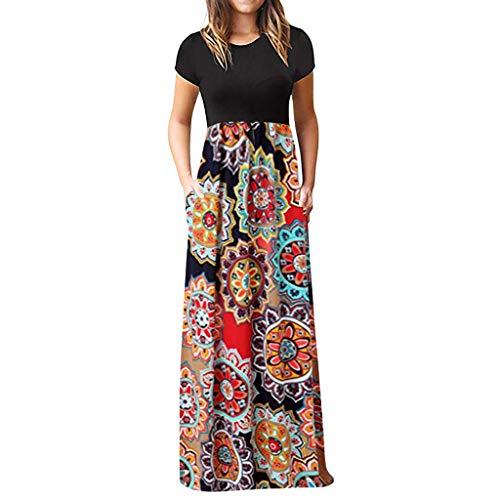 BURFLY Damen Rundhalsausschnitt Kurzarm-Nähte Kleid Sommer böhmisches dünnes Strandkleid Mehrfarbig Multi-Code (Schickes Junge Kleid, Kleinkind,)