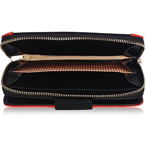 LeahWard® Genuine Kunstleder Geldbörsen Brieftaschen Mode nett Groß Geldbörsen Tasche Schwarz Geldbörse/Brieftasche mit Gold Teins Metal Drehverschluss