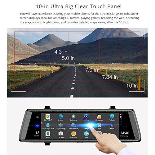 Broadroot 10 Zoll Touchscreen 1080P FHD Dual Objektiv 4G WiFi Android 5.1 Auto Rückspiegel DVR Bluetooth Dash Cam ADAS GPS Navigator mit Rückfahrkamera (Ohne Speicherkarte) Mobile 10 Bluetooth-gps