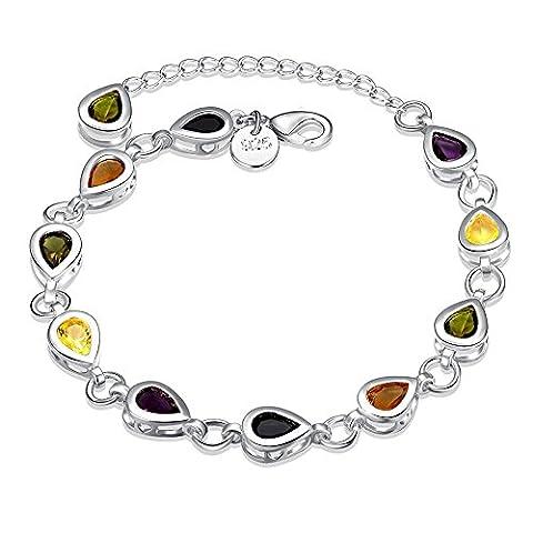 Bodya pour femme pour fille Plaqué argent coloré carré rond ovale CZ Crystal Link Bracelets à breloques 20,3cm Chaîne réglable -