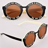 Cruz My Heart & Esperanza To Die Stick a Aguja in My Ojo Gafas para el sol Negro Y Blanco con naranja lente